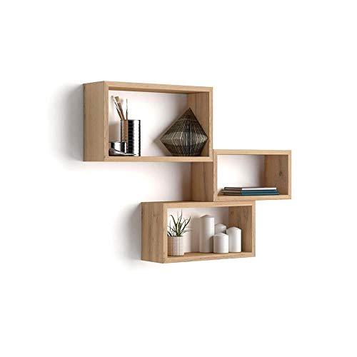 Mobili Fiver, Rechteckiges Wandregal 3er-Set, Giuditta, rustikale Eiche, Laminiert, Made in Italy