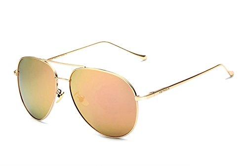 VEITHDIA Gafas de sol polarizadas deportivas UV400 protección para hombres y mujeres, béisbol, correr, ciclismo, pesca, conducción, golf, marco irrompible 3360 (dorado-rosa, 62)