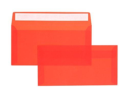 100 Stück, Farbige Transparente Briefumschläge, DIN Lang, Haftklebung mit Abziehstreifen, Gerade Klappe, 92 g/qm Offset, Ohne Fenster, Rot (Transparent-Intensivrot), Blanke Briefhüllen
