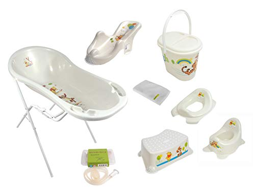 Lot de 9 accessoires Disney Winnie l'ourson - Baignoire XXL 100 cm + support de baignoire + siège de bain + pot + siège WC + tabouret + seau à couches + tuyau d'écoulement + gant de toilette