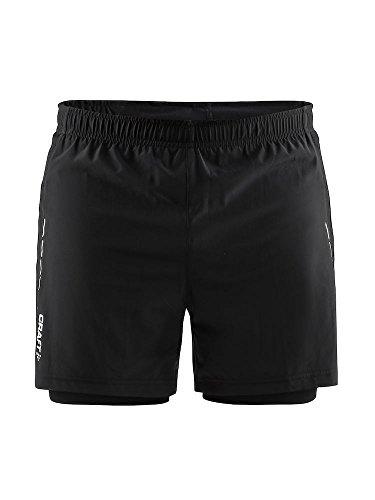 Craft Pantalones Cortos de Correr Essential 2 en 1 para Hombre, Talla M, Hombre, Pantalones Cortos para Correr, 1906028-999000-4, Negro, Small
