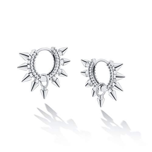 Mevecco Dainty Spike Huggie Earrings 14K White Gold Plated Delicate Cute Handmade Geometry Awl Hoop Earrings for Women Girls Jewelry Gift (awl dangle)