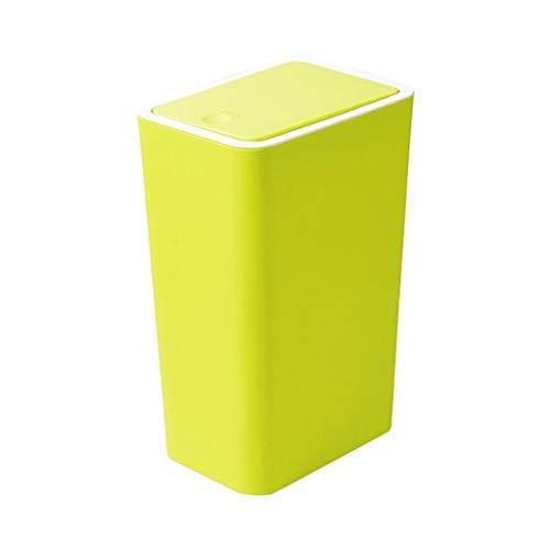 Xiaoli Cubo de Basura Moda Hogar Creativo Cuadrado Bote de Basura Cocina Baño Sala de Estar Papelera Cesta de Almacenamiento Papeleras (Color : Green, Size : 6L)