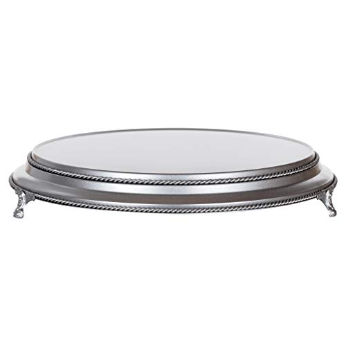 Amalfi Decor 16 Inch Cake Stand Plateau Riser, Large Dessert Cupcake Pastry Candy Display Plate for Wedding Event Birthday Party, Round Metal Pedestal Holder, Silver