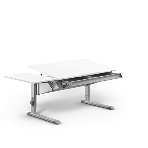 moll Sprinter Kinderschreibtisch mit Schublade und Side Top, Holzwerkstoff, Weiß, 117,20cm × 71cm × 53-82cm