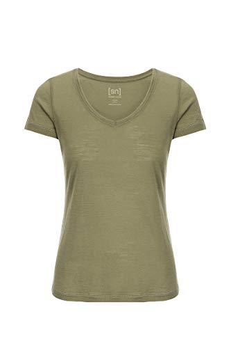 super.natural Dünnes Damen Kurzarm T-Shirt, V-Ausschnitt, Mit Merinowolle, W BASE V NECK TEE 140, Größe: S, Farbe: Beige/Khaki