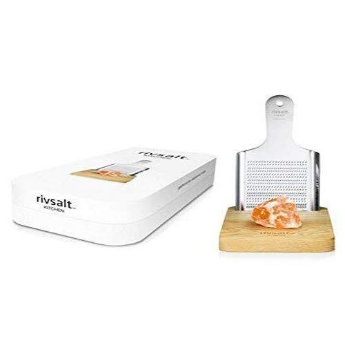 Rivsalt Salzreibe mit großem Salzkristall-Stein und feiner Eichen-Platte
