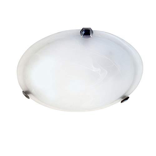 Velamp Sirio Plafón redondo de vidrio, alabastro, 40cm de diámetro. Ataque para...