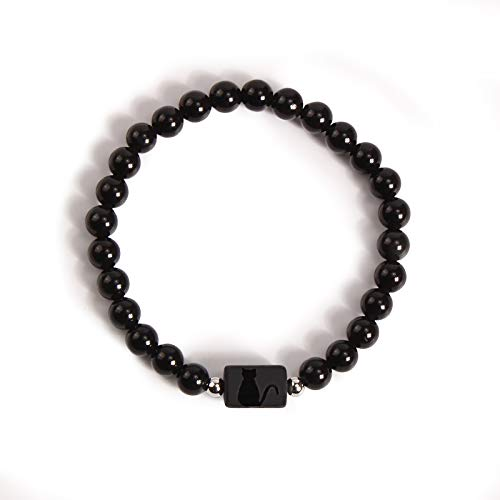 Katomi Ladies Gifts Pulsera de obsidiana con motivo de gato, Pulsera negra personalizada con grabado...