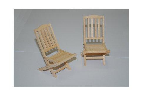alles-meine.de GmbH Set : Gartenmöbel 2 Stühle Holz Möbel Set Nostalgie beige hell Miniatur - Maßstab 1:12 - Puppenstube / Puppenhaus - Küchenmöbel - Wohnzimmermöbel - Gartenmöbe..