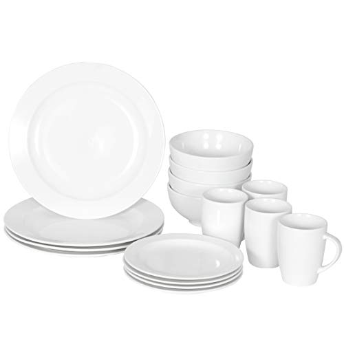 SUPER DEAL Round 16-Piece White Kitchen Dinnerware Set, Service for 4, Plates Bowls Mugs– Microwave, Oven and Dishwasher Safe