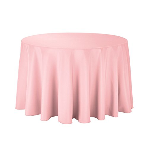 "Gee Di Moda Tablecloth - 108"" Inch Round Tablecloths for Circular Table Cover in Pink Washable Polyester - Great for Buffet Table, Parties, Holiday Dinner & More"