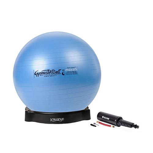 PEZZI Gymnastikball MAXAFE Sitzball Set Ø 42 cm bis 75 cm inkl. Ballschale und Ballpumpe bis 400 kg belastbar Training Fitness Reha Therapie (Blau, Ø 53 cm - bis 155 cm Körpergröße)