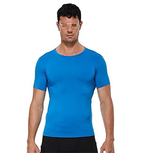 Shirt Deportiva Hombre Básica Ajustada Cuello Redondo Color Sólido Hombre Shirt Deportiva Empalme Elástico Manga Corta Hombre Shirt Muscular Secado Rápido Hombre Shirt Correr J-Blue2 S
