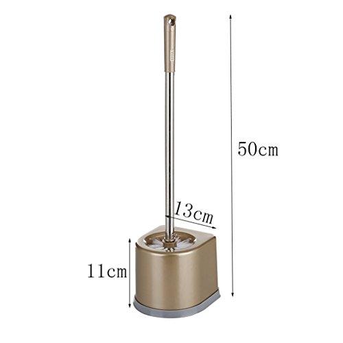 LWF Brosse de toilette en plastique compacte de brosse de toilette et support de poignée d'acier inoxydable, 2 ensembles, pour la brosse de nettoyage de salle de bains (Couleur : B)