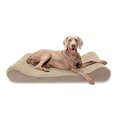 Furhaven Pet Dog Bed - Cooling Gel Foam Micro Velvet Ergonomic Luxe Lounger Cradle Mattress Contour Pet Bed w/ Removable Cover for Dogs & Cats, Clay, Jumbo Plus
