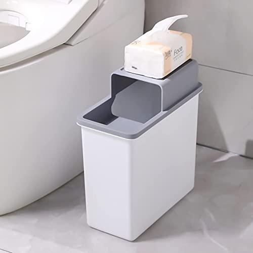 JOYBOS Bote de basura para baño, pequeño bote de basura con tapa, 14 litros, contenedor de plástico delgado, 4 galones, a prueba de perros, para desechos de dormitorio, oficina,...