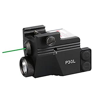 HiLight P3GL 500 lm Strobe Pistol Flashlight & Green Laser Sight Combo  Air Craft Grade Aluminum USB Rechargeable Built-in Battery  for Subcompact and Compact Pistols Handguns