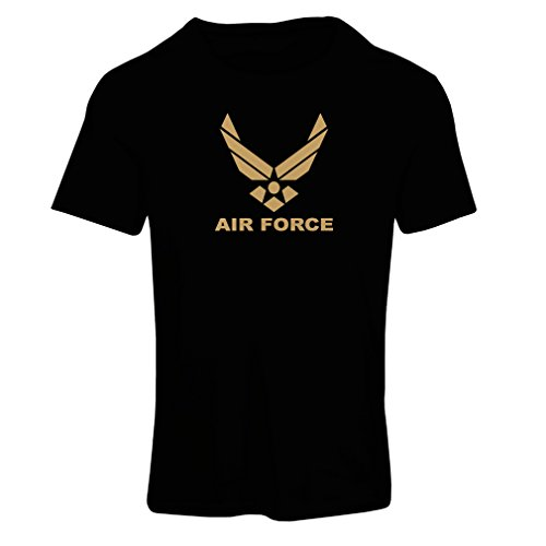 lepni.me Camiseta Mujer United States Air Force (USAF) - U. S. Army, USA Armed Forces (Small Negro Oro)