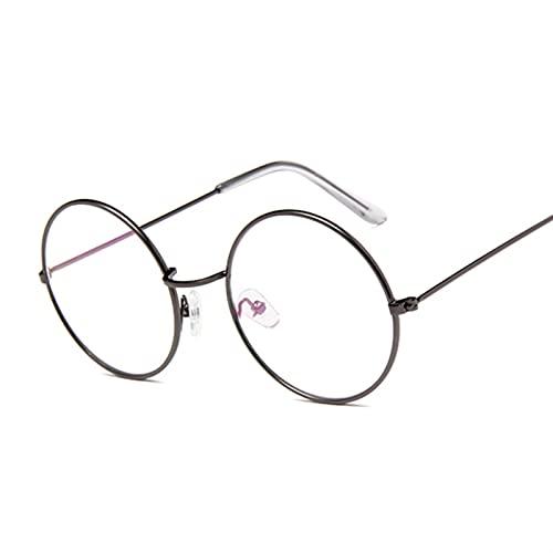 YUANBOO Moda Ronda Vintage Gafas Marco Mujeres Vidrios Metal Marco Claro Lente Lente Optical Vidrios Transparentes Femenina Llanura (Lenses Color : Gun Color)