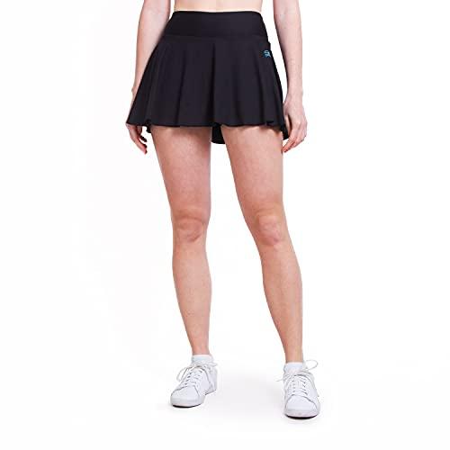 Sportkind Mädchen & Damen Tennisskort mit Ballgürtel, atmungsaktiver Sport Rock mit Innenhose, schwarz, Gr. 146