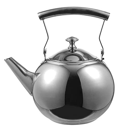 Cabilock Chaleira com apito para fogão, chaleira de aço inoxidável 2L, chaleira de chá com alça para chá, café, prata