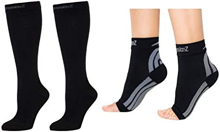 CompressionZ 20 30 mmHg Compression Socks Foot Sleeve Bundle Black Large product image