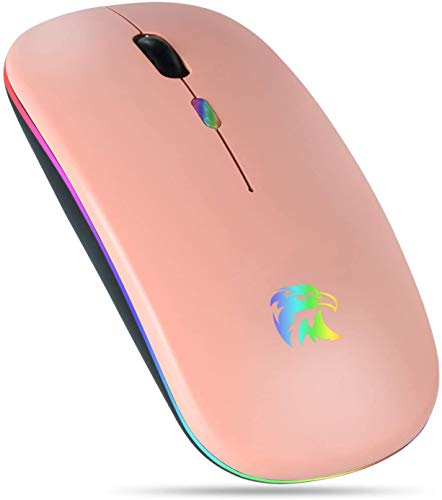 Bluetooth Mouse LED Wireless Mouse Rechargeable Bluetooth Wireless Mouse for Laptop Computer PC Chromebook iPad Notebook (Bluetooth Mouse Rose Gold)