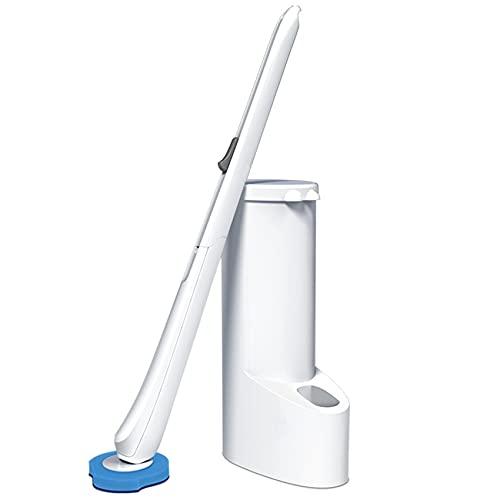 Llq2019 Cepillo de Inodoro desechable con Soporte, con 16 recargas, Kit de Varilla de Inodoro de Pared Que Incluye un Carrito de Almacenamiento (Cepillo de Inodoro)