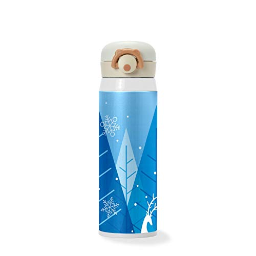 500ml Christmas Winter Forest Blue Background with Reindeer Vacuum Cups Stainless Steel Insulated Water Bottle Travel Sports Mug for Kids/Students/Boys/Girls/Women/Men