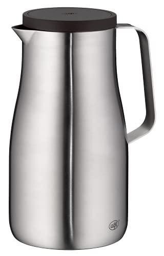 alfi Thermoskanne Studio TT, Edelstahl mattiert 1L, Edelstahleinsatz, spülmaschinenfest, 1297.205.100, Isolierkanne hält 12 Stunden heiß, ideal als Kaffeekanne oder Teekanne, Kanne für 8 Tassen