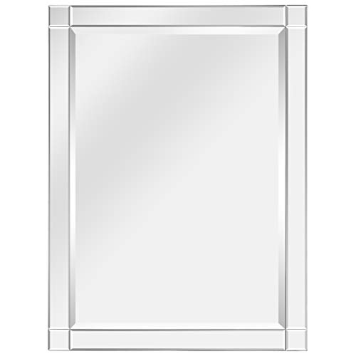 Empire Art Direct Modern Squared Corner Rectangle Wall Mirror for Vanity & -