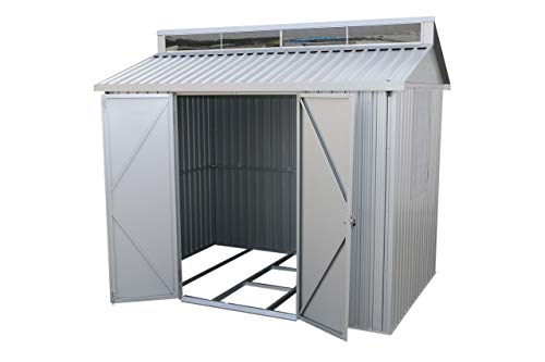 Duramax Aluminium 8 x 6 Garden Storage Shed | All-Weather Durable & Waterproof Outdoor Shed | Store Bikes, Tools, BBQ & more | Includes Skylight, Foundation, Window on Side & Lockable Double Doors