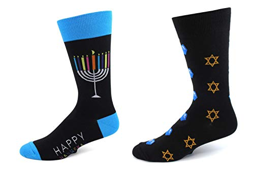 2 Pairs of Men's Menorah & Star Of David Hanukkah Holiday Socks Gift Set
