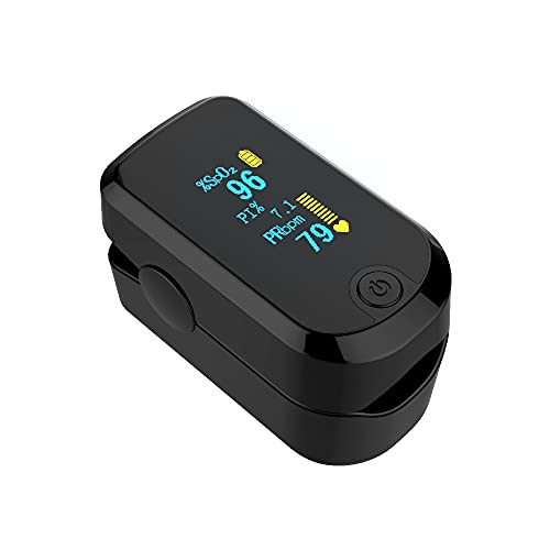 ACCARE Pulsoximeter, Fingerpulsoximeter zur Messung der Sauerstoffsättigung (SpO₂), Puls und PI. Tragbares Oximeter mit OLED-Farbdisplay, Schutztasche, Batterie und Lanyard. CE-Zertifizierung-FS20E