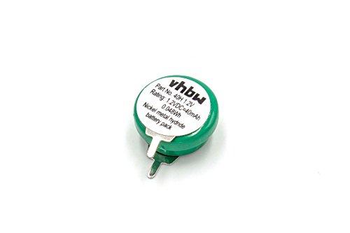 vhbw Knopfzellen Akku Typ V40H (NiMH, 40mAh, 1.2V) - 1 Zelle, 2 Pins Printanschluss, wiederaufladbar