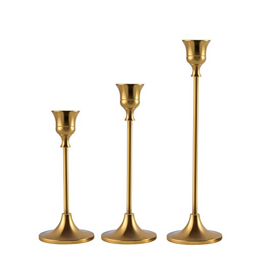 Candlestick Holders Taper Candle Holders, Brass Gold Candlestick Holder Set 3 Pcs Candle Stick Holders kit Decorative Candlestick Stand for Wedding Party Dinning (Brass Gold)