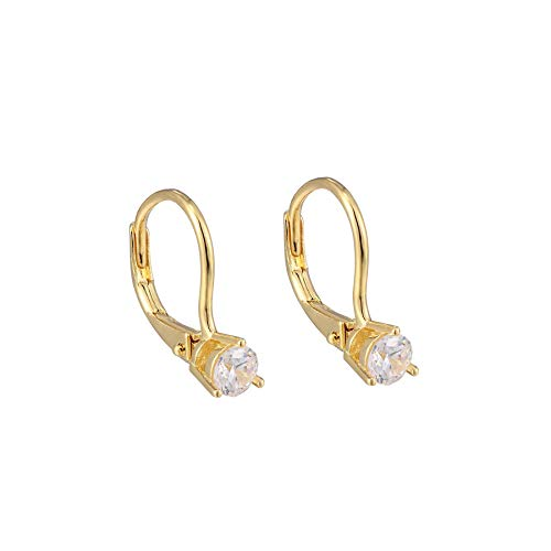 Mini Single CZ Stone Leverback Earrings