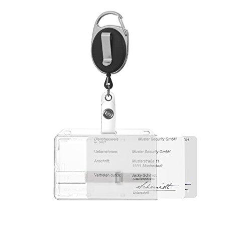 Karteo® Funda para tarjeta y funda protectora para 2 tarjetas + 2 elementos correderos transparente con portacredencial tipo yoyo negro que incluye mosquetón y clip