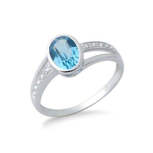 Miore Damen-Ring aus 9 kt 375 Weißgold mit Blau Topas und 10 Brillanten 0,05ct