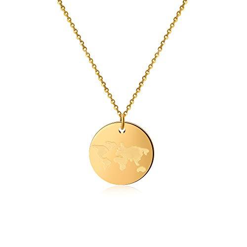 Good.Designs ® Damen Weltkugel Coin Halskette (45cm Kettenlänge) Globuskette mit rundem World Anhänger (Gold)