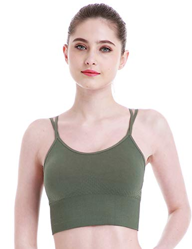 Seamless Strappy Padded Sports Bras for Women Yoga Gym Workout Fitness Hers Intimate Longline Sports Bra
