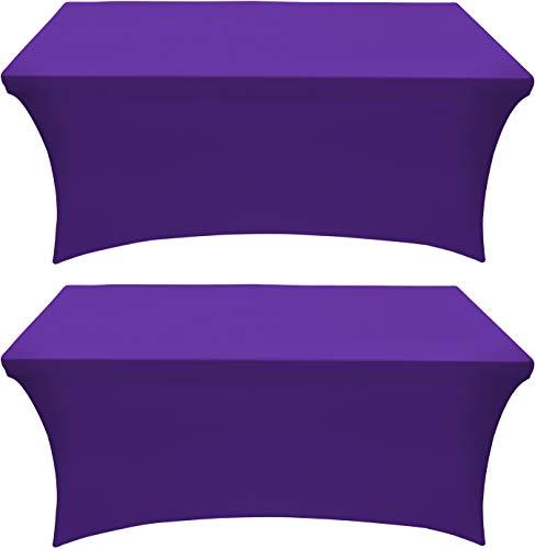 Utopia Kitchen Mantel Extensible - Cubierta de Mesa Ajustable de 6 pies (183 cm) - Mantel de poliéster y Spandex - Lavable a máquina - Resistente a Las Arrugas (Paquete de 2, Púrpura)