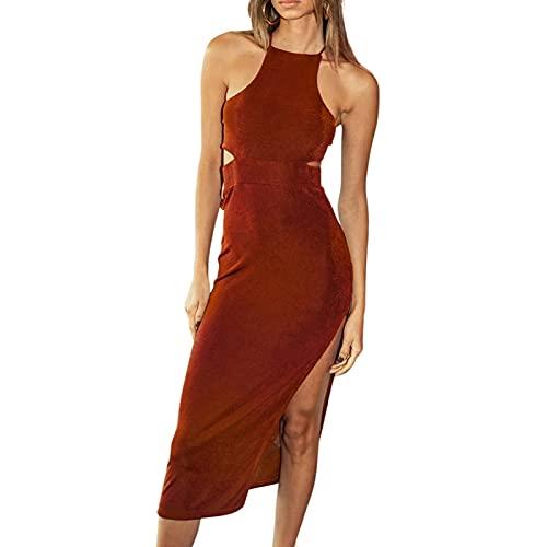 Glosun Vestido largo atractivo del recorte de las mujeres vestido de punto impreso Color sólido Slim Fit cintura hueco vestido de vacaciones