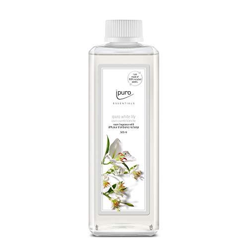 ipuro ESSENTIALS Raumduft white lily Nachfüllpack Set für ein blumigzartes Raumklima Lufterfrischer mit hochwertigen Inhaltsstoffen 500ml, Transparent, 500 milliliter