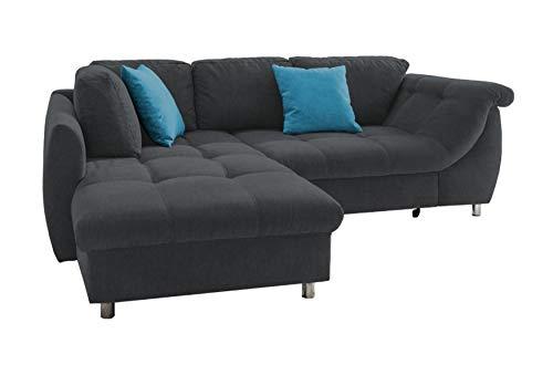 lifestyle4living Ecksofa mit Schlaffunktion in Schwarz mit großen Rücken-Kissen und Zierkissen, Microfaser-Stoff   Gemütliches L-Sofa mit Longchair im modernen Look