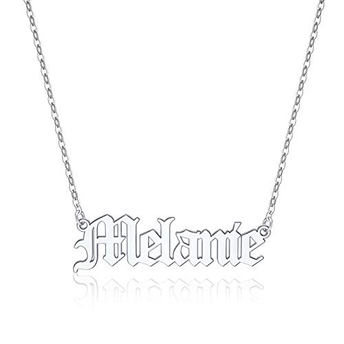 Yoosteel Melanie Name Necklaces for Women Girls, Silver Name Necklace Melanie Jewelry Melanie Name Necklace for Women Jewelry Name Personalized