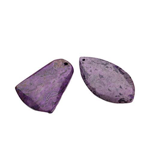 EXCEART 2 Piezas de Colgante de Piedra de Amatista Perforada en La Parte Superior de Piedra de Cristal Irregular Natural Colgantes de Piedras Preciosas de Chakra Abalorios para Collar