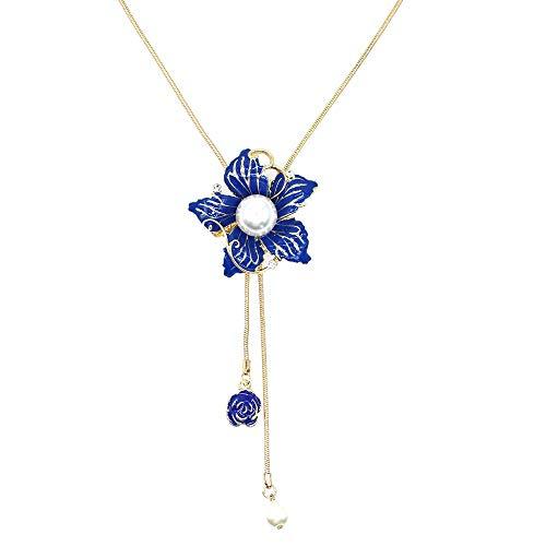Collana lunga con ciondolo a forma di fiore di Bauhinia, con perle di cristallo bianco, gioiello alla moda per donne e ragazze e Lega, colore: Collana con fiore blu., cod. N1059