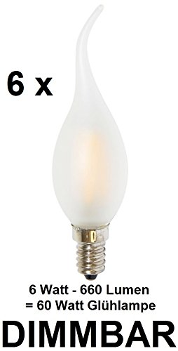 6 x dimbare 6 watt draden – fiLAMENT LED-lamp kaars windstoß matglas fitting E14, retrofit, warmwit 2700 Kelvin, 660 lumen als ca. 60 watt gloeilamp, ideaal voor kroonluchters